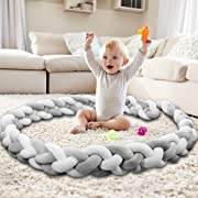 Baby Crib Bumper Knotted Braided Bumper Handmade Soft Knot Pillow Nursery Cradle Decor Newborn Gift Crib Protector (4 Strands with Gray-White, 118 inch)