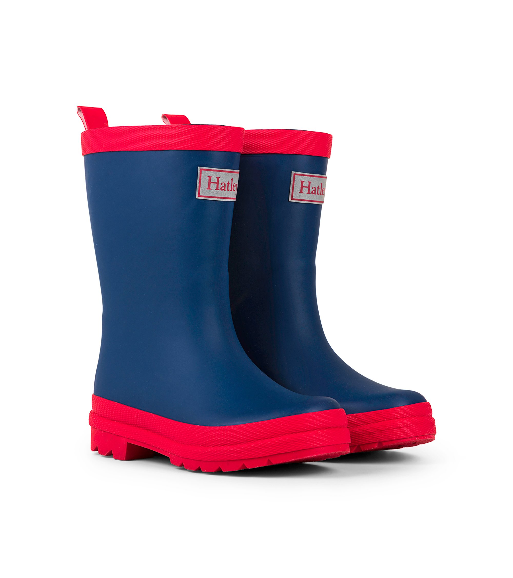 Hatley Classic Rain Boots, Navy and Red, 1 M US Big Kid