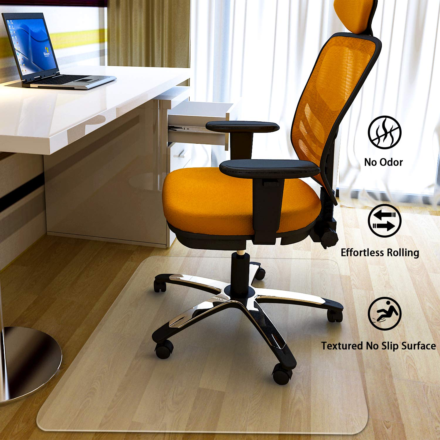 MATDOM Chair Mat for Wood Floor at Home and Office Heavy Duty Transparent Solid Multiple Size Eco-Friendly, 1/16'' Thick Rectangular by MATDOM