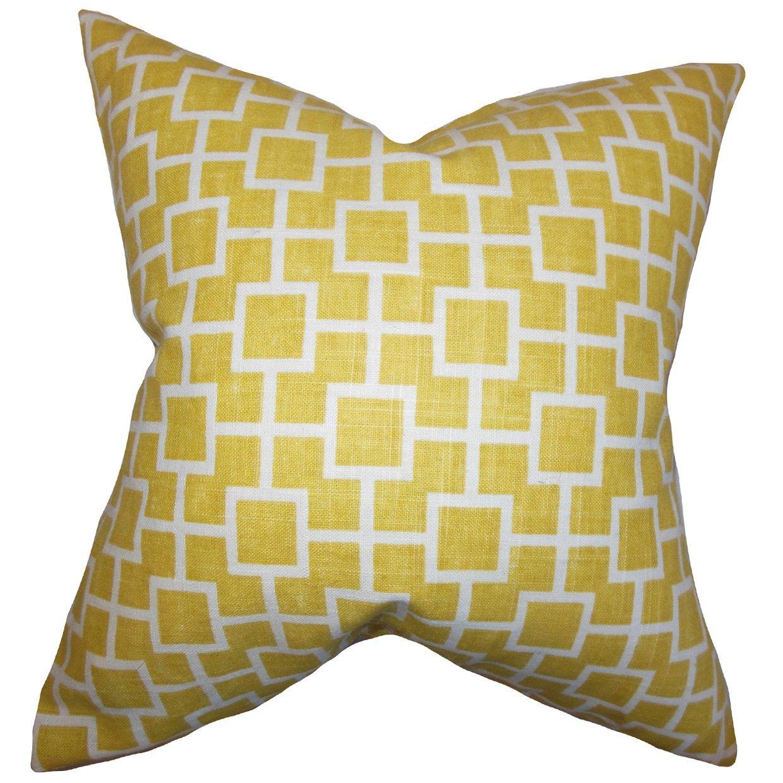 The Pillow Collection Janka Geometric Bedding Sham Yellow European//26 x 26,