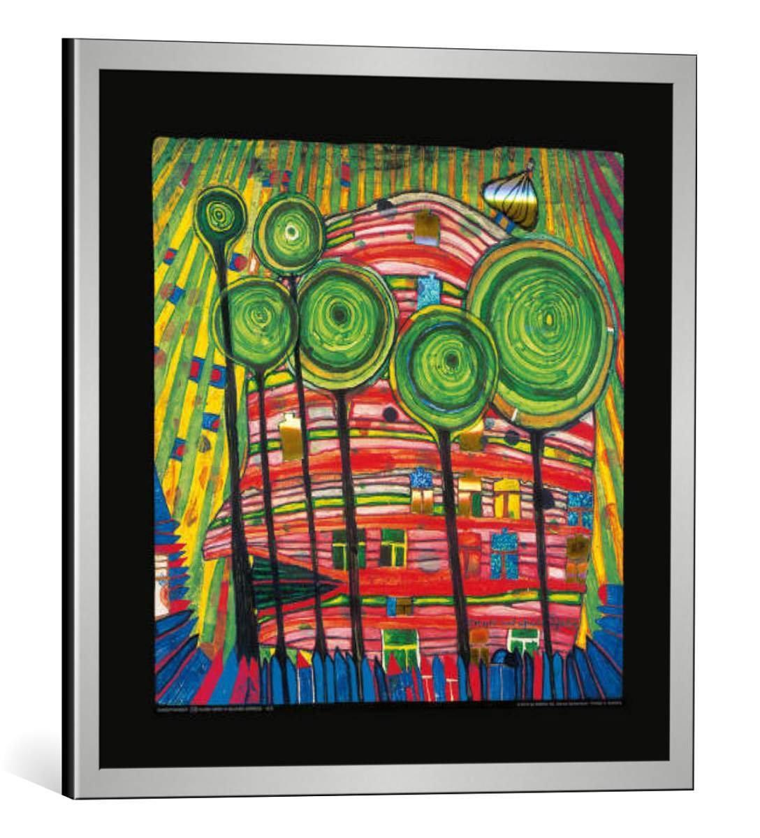 kunst für alle Bild mit Bilder-Rahmen: Friedensreich Hundertwasser Dingsdas wachsen in geliebten Gärten - dekorativer Kunstdruck, hochwertig gerahmt, 48x48 cm, Silber gebürstet
