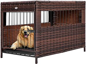 DEStar Heavy Duty PE Rattan Wicker Pet Dog Cage Crate Indoor Outdoor Puppy House Shelter with Removable Tray and UV Resistant Cover