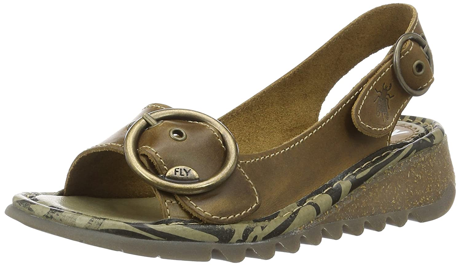 Braun (Camel) Fly London Damen Tram Sandalen
