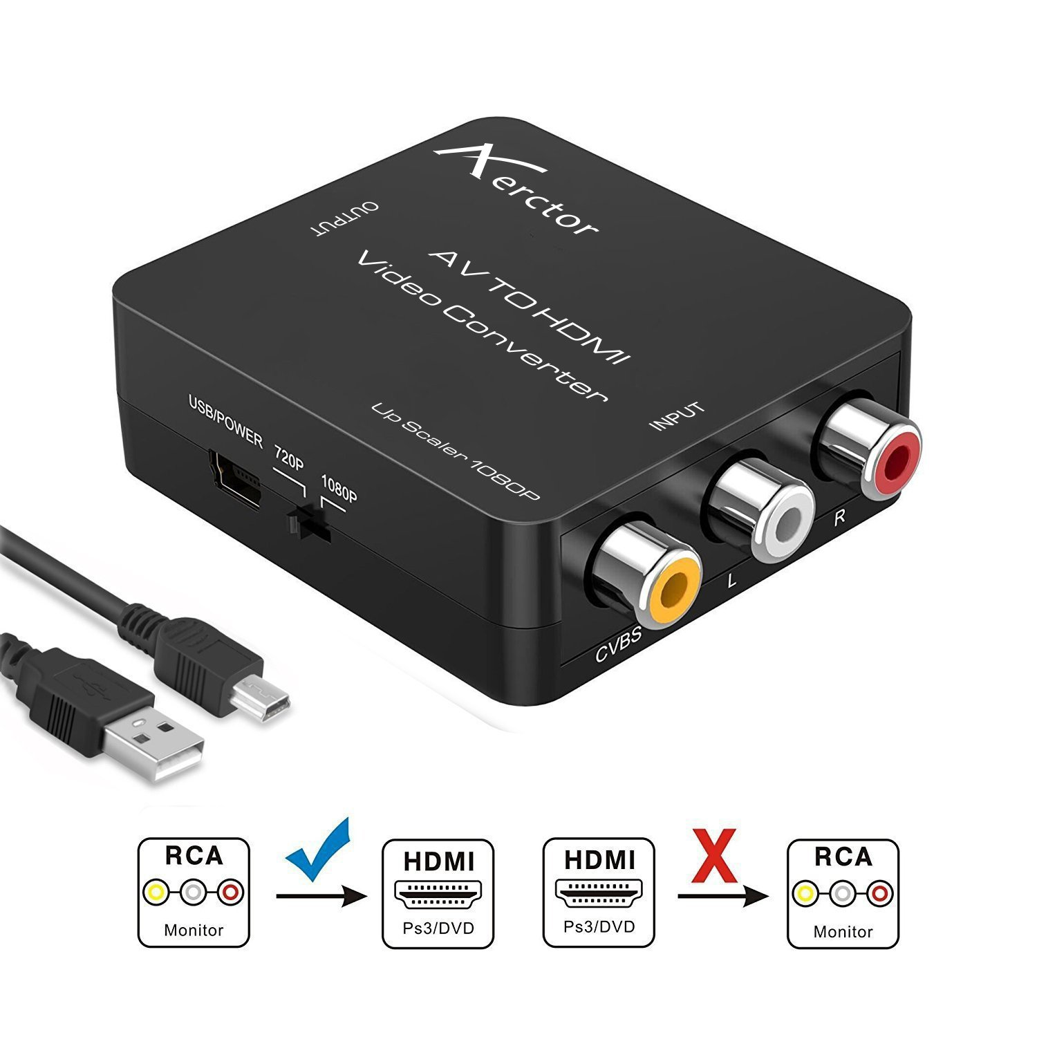 RCA to HDMI Converter,Aerctor 1080P Mini AV Composite CVBS to HDMI Video Audio Converter Adapter Supporting PAL/NTSC USB Charge Cable PC Laptop Xbox PS4 PS3 TV STB VHS VCR Camera DVD,Black
