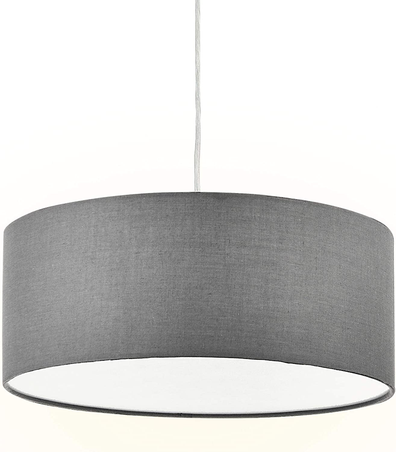 """Modern Fabric Pendant Light, 15"""" Classic 3-Light Drum Ceiling Chandelier, Grey Drum Shade, Round Frosted Plastic Diffuser, 3 Bulb, E26"""