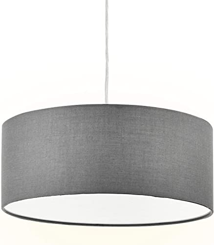 Modern Fabric Pendant Light, 15 Classic 3-Light Drum Ceiling Chandelier, Grey Drum Shade, Round Frosted Plastic Diffuser, 3 Bulb, E26