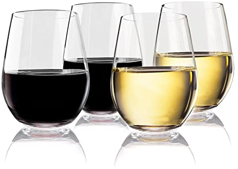 4f3d875041e Vivocci Unbreakable Elegant Plastic Stemless Wine Glasses 20 oz