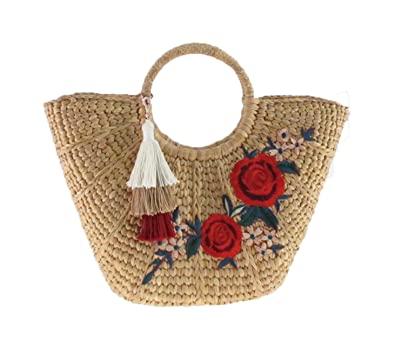 2edae6710 Image Unavailable. Image not available for. Color: Handmade Straw Bag/w  Tassel and Rose Summer Beach Handbag