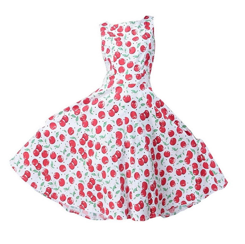 Damen Ärmellos Abendkleid 1950er Retro vintage Rundausschnitt Partykleid Cocktailkleid Faltenrock Kleid Dress Stil Blumenmuster
