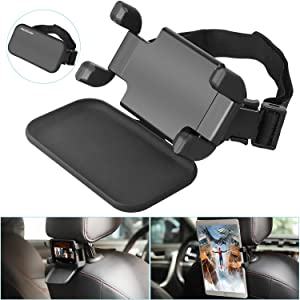 "Car Headrest Mount, NEARPOW 360°Rotation Velcro Tablet Holder for Car Back Seat, Angle Adjustable and Universal Vehicle, Stand Cradle Compatible with 4.7-12.9"" iPad Air/Mini/Pro Samsung Galaxy Tabs"
