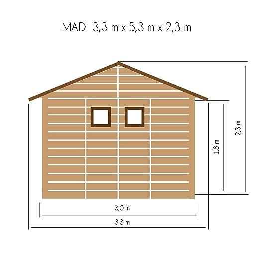 Cadema - Cobertizo de madera para jardín con terraza (9 m2 + 6 m2 (19 mm), con ventanas con soporte suelo): Amazon.es: Jardín