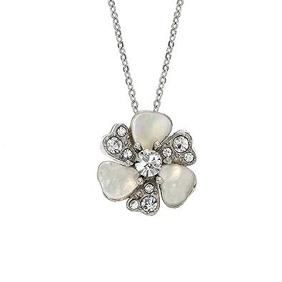 De Rhodium Cristal Nacre Avec Fleur Plaqué Et Patine CollierFait P80XnwkO