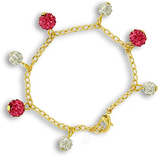 A Touch of Dazzle Crystal Ball Charm Bracelet 18k Gold Plated Link Bracelet 6 inches with Pink and White Charms