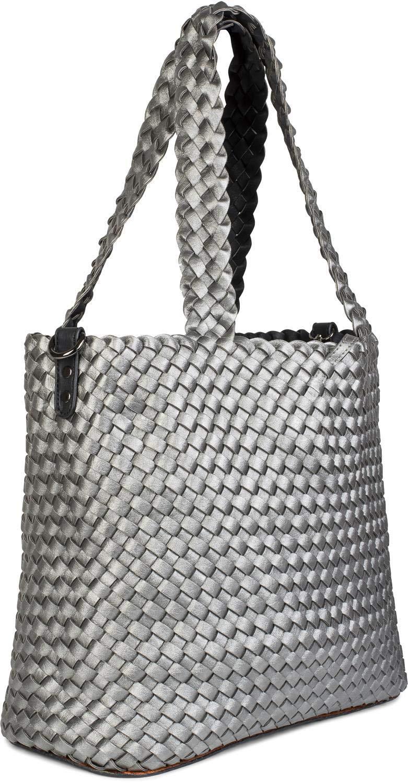 Shopper Tasche Schultertasche styleBREAKER XXL Wendetasche in Flecht-Optik Bag in Bag Handtaschen Set 2 Taschen Farbe:Bronze//Braun Damen 02012163