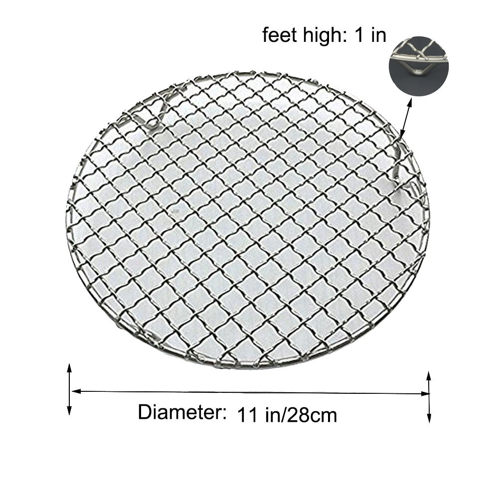Fivebop Multi-Purpose Stainless Steel Cross Wire Round Steaming Cooling Barbecue Racks/Carbon Baking Net/Grills/Pan Grate with 3 Legs (11 inches) by Fivebop (Image #3)