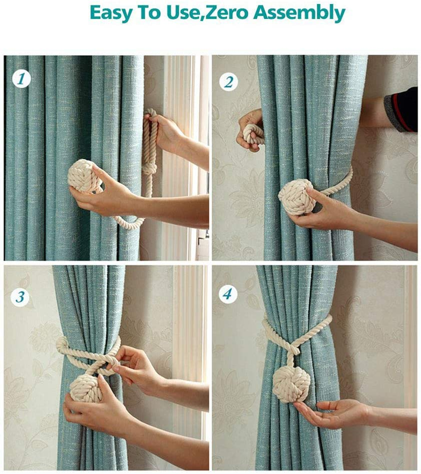 Beige Tassel Decorative Holdbacks Holders for Window Sheer and Blackout Panels Handmade Natural Cotton Rope and Round Finial Drapery Tie Bakes Melanovo 2 Pack Curtain Tiebacks