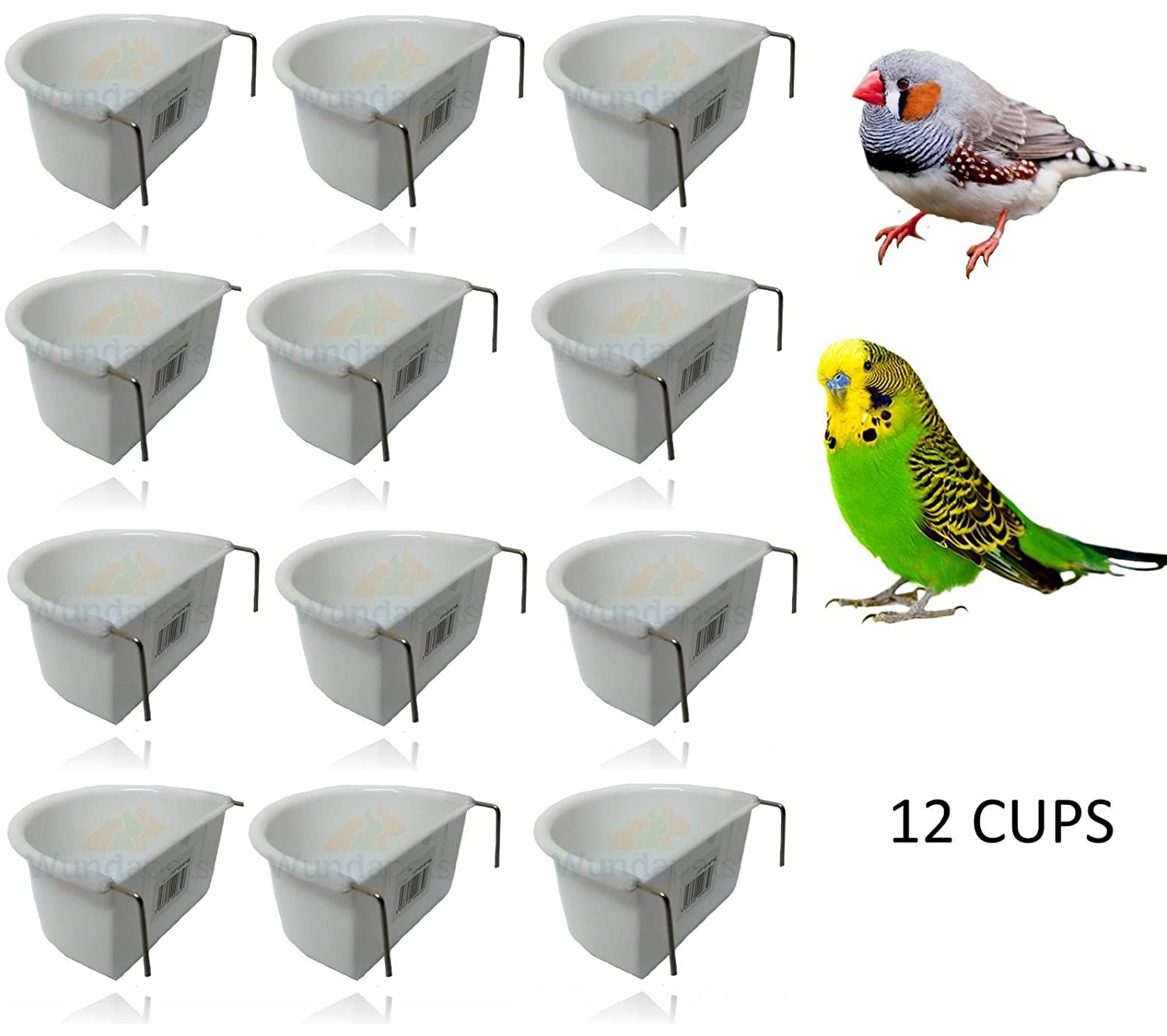 *NEW* 12 PACK WUNDAPETS 6.5 CM D-SHAPE PLASTIC BIRD BUDGIE PARROT CAGE HANG FEEDER COOP CUP