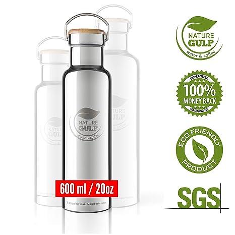 Nature Gulp bebidas frías 24-36 horas y calientes 12 horas 600ml GARANTÍA DE POR VIDA Botella de Agua aislada al Vacío de Acero Inoxidable Diseño de ...