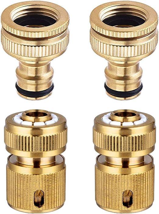 CT Conector de 4 Piezas para Manguera de jardín, Conector de 1/2 Pulgada y 3/4 de Pulgada, Conector rápido de Tubo de Manguera de 2 en 1 y 1/2 Pulgada: Amazon.es: Jardín