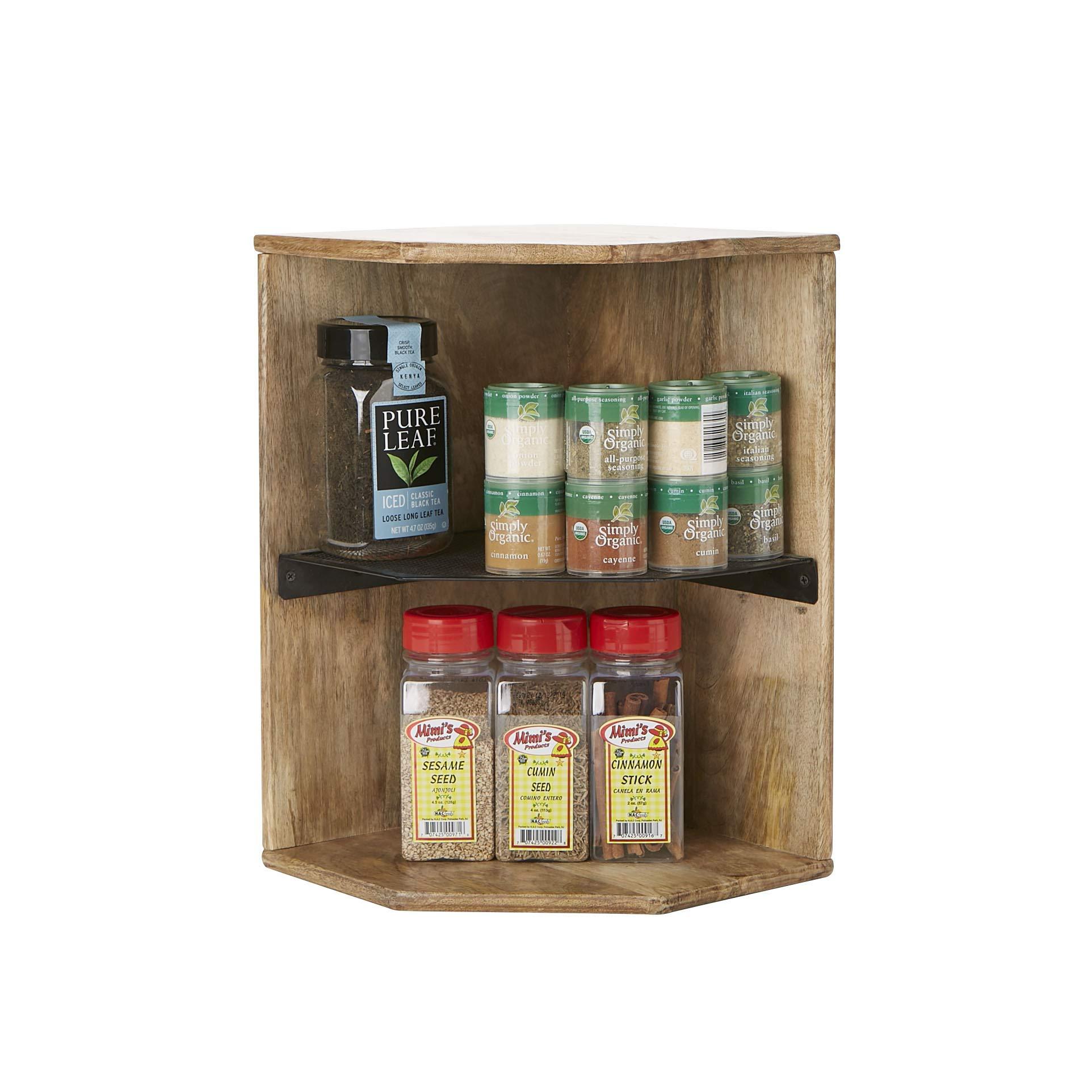 Mind Reader 2WISH-BRN Mango Wood, Iron 2 Tier Shelf, Kitchen Corner, Living Area, Storage, Spice Rack, Organizer, Brown by Mind Reader