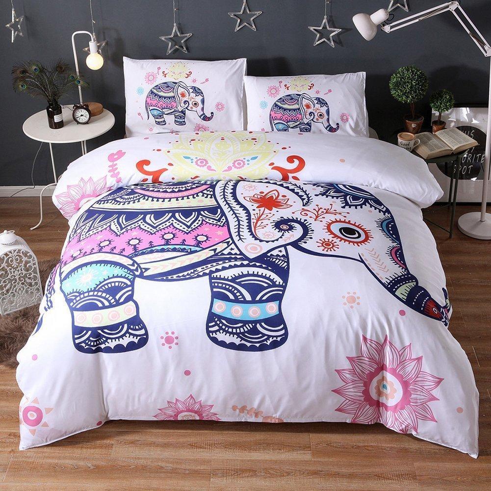 Livecity Fashion Ethnic Elefant Bettbezug + 2 Kissen Fall Bettwäsche Bettwäsche Bettwäsche Set Bett Decor, Polyester, 5 , King Größe B076ZJY8LB Kopfkissenbezüge 8778e2