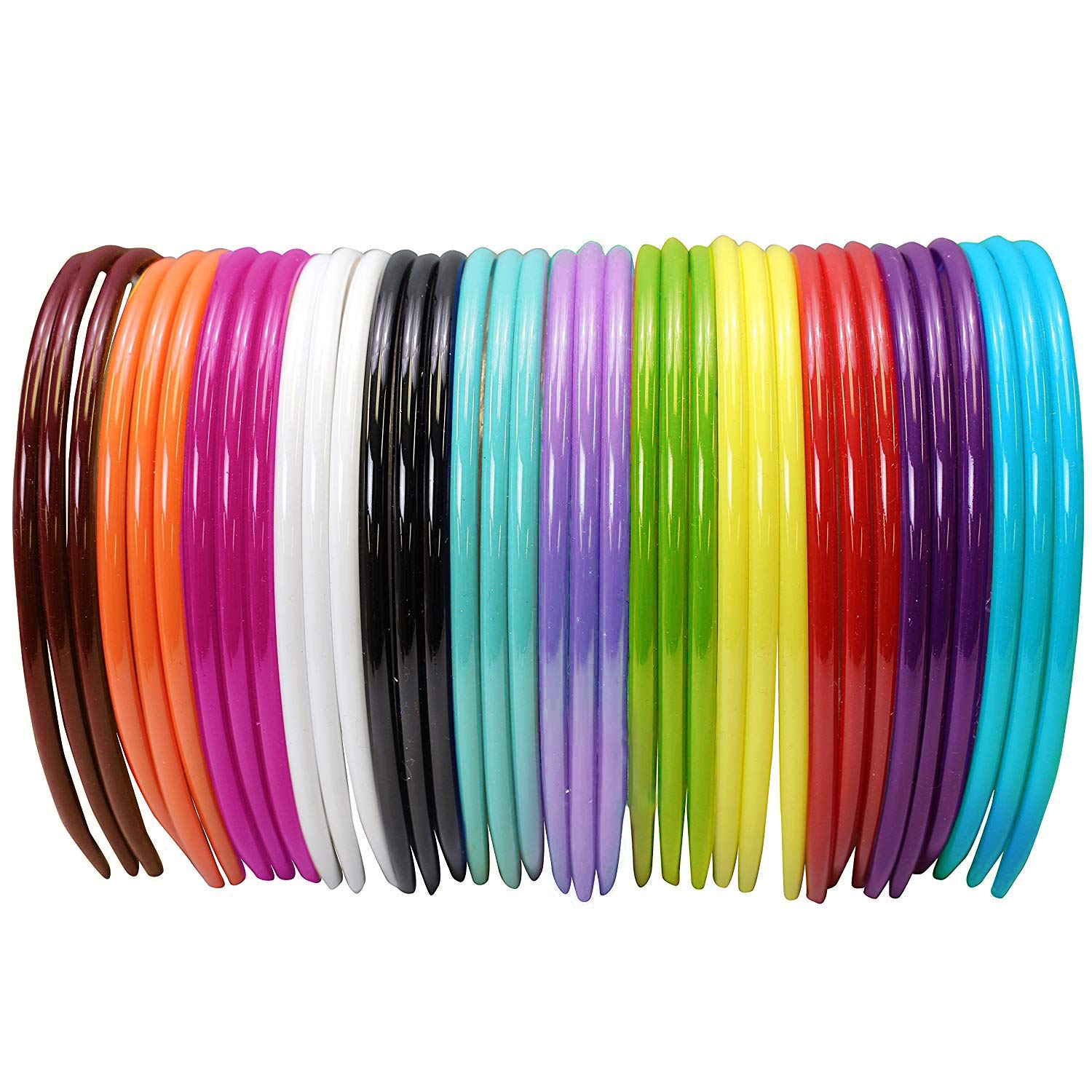 10 Mixed Color Candy Plastic Headband Covered Satin Hair Band 10mm for DIY Craft