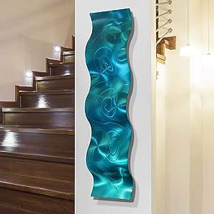 """Statements2000 3D Abstract Metal Wall Art Accent Sculpture Modern Aqua Blue Decor by Jon Allen, 46"""" x 10"""" - Mar Wave"""