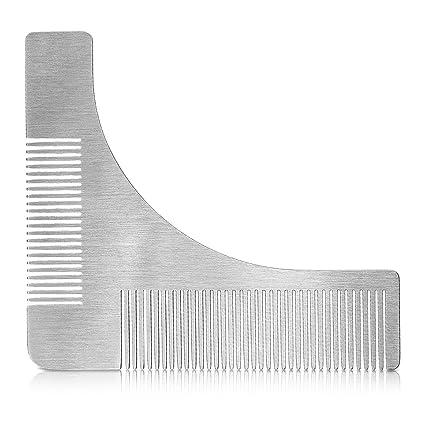 kwmobile Plantilla para cortar barba de acero inoxidable - Peine guía para recortar barba - Molde