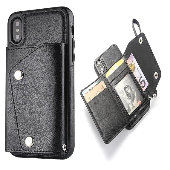 pretty nice 89281 4cc0d Amazon.com: iPhone X iPhone Xs Wallet Case - HaFei Mens Wallet Purse ...