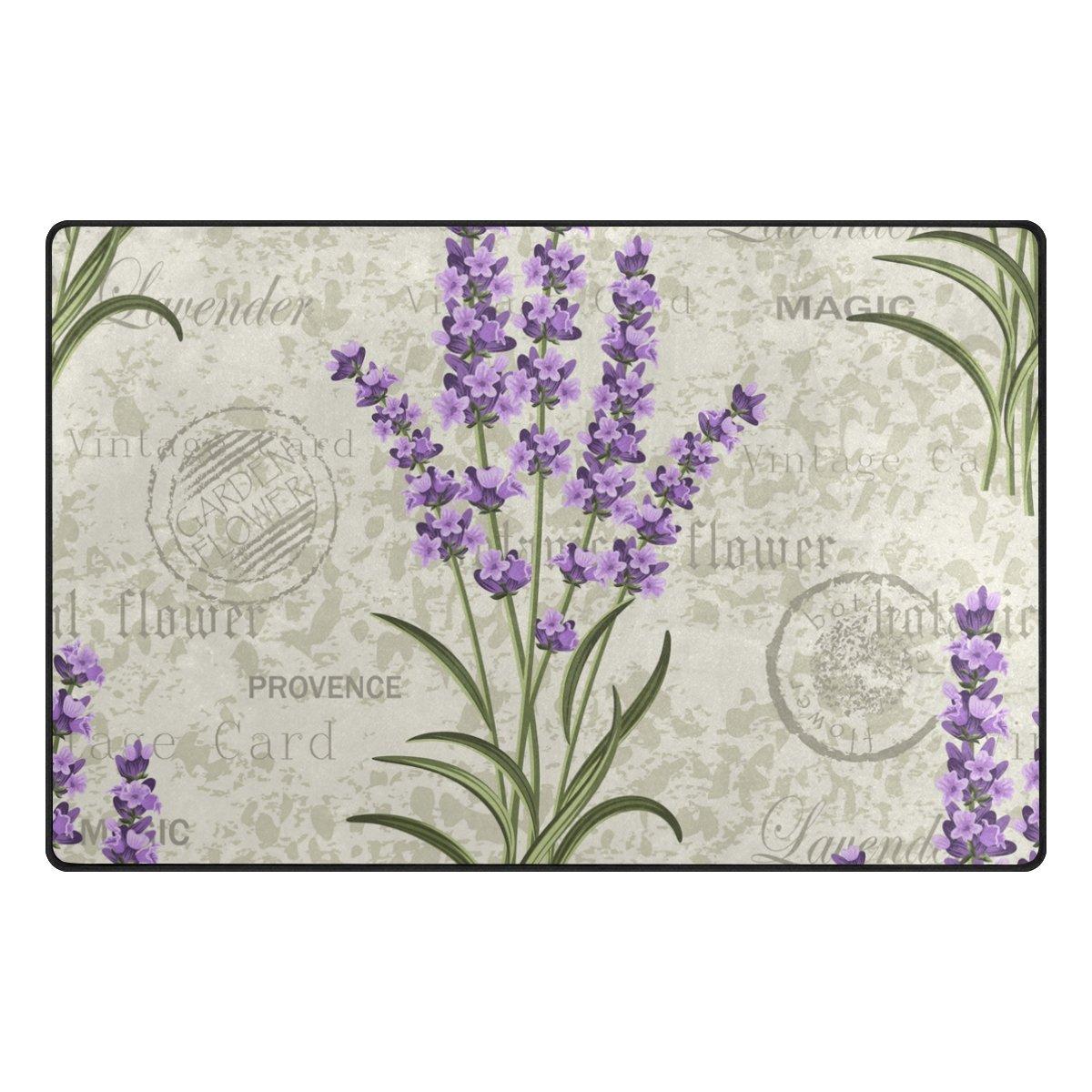 My Daily Lavenders Floral Vintage Area Rug 20'' x 31'', Door Mat for Living Room Bedroom Kitchen Bathroom Decorative Lightweight Foam Printed Rug
