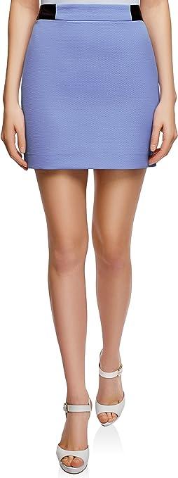 oodji Ultra Mujer Falda Corta con Acabado de Piel Sintética ...