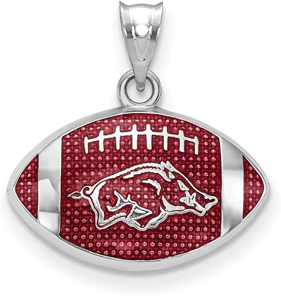 925 Sterling Silver Rhodium-plated Laser-cut University of Minnesota Large Enameled Pendant