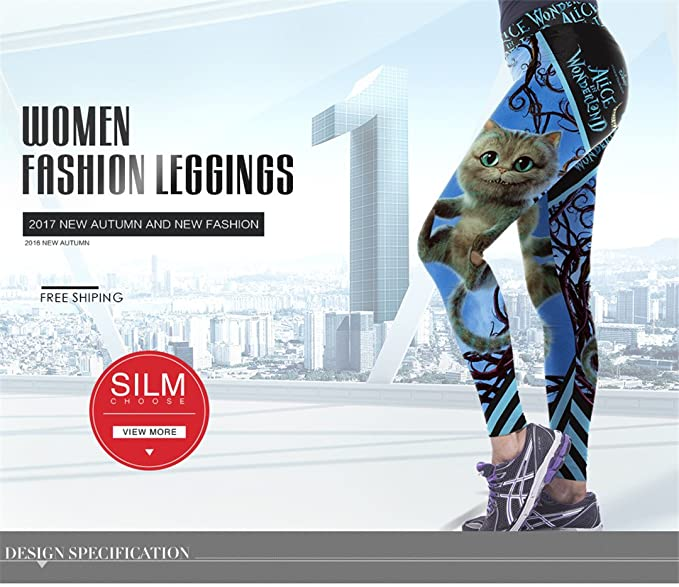 Yogany Halloween High Waist Leggings Silm Fitness Women Legging Cute Cat Prints 3D Digital Print Workout Leggin at Amazon Womens Clothing store: