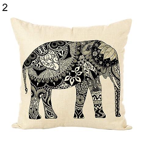 SEGRJ - Funda de cojín de 45 x 45 cm, diseño de Elefante ...