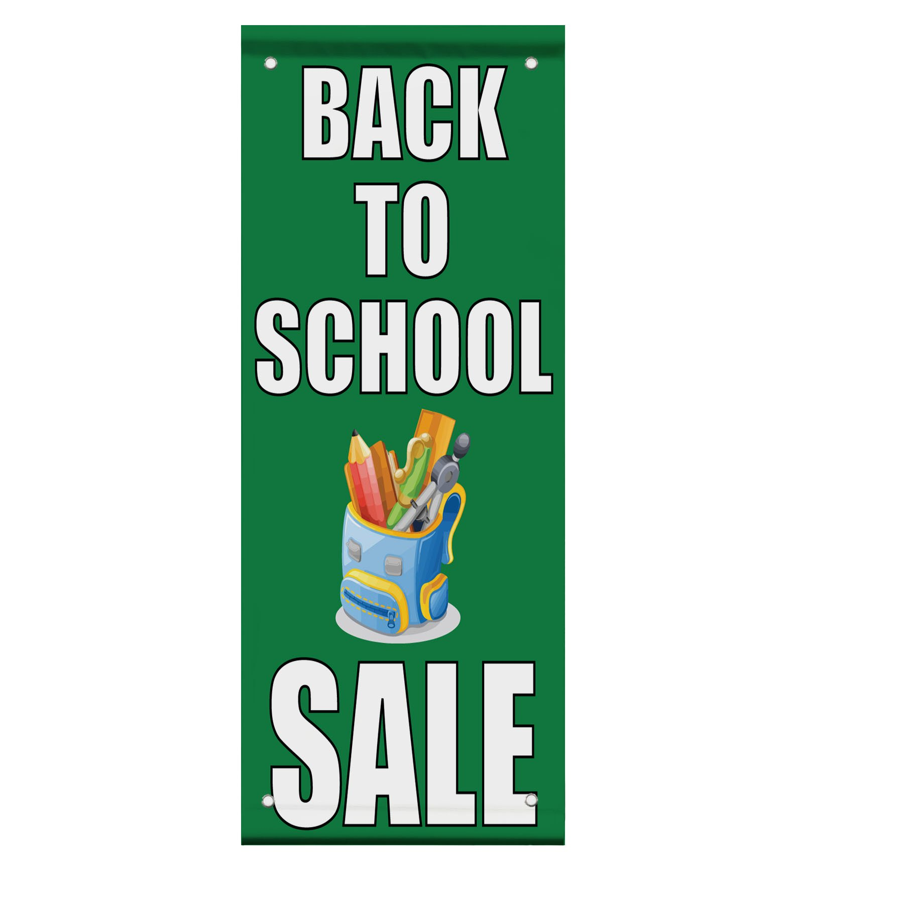 Back To School Sale Advertisement Double Sided Vertical Pole Banner Sign 24 in x 36 in w/ Wall Bracket