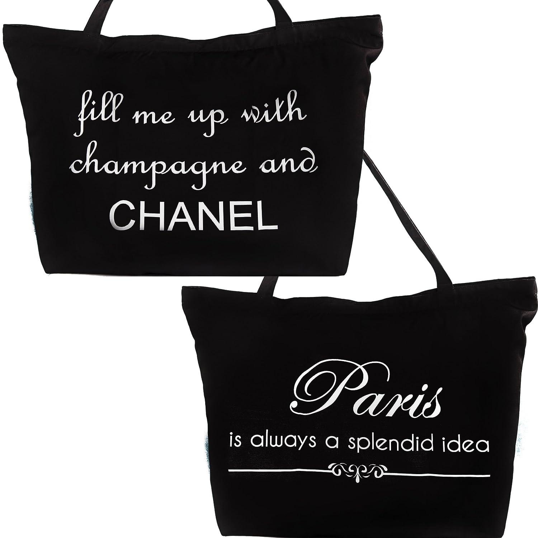 7e2d7d08c1f9 Amazon.com : Paris-Chanel White and Black Tote Bag, beach bag, lightweight  travel bag-washable bag, chanel tote, chanel bag, chanel gift : Everything  Else