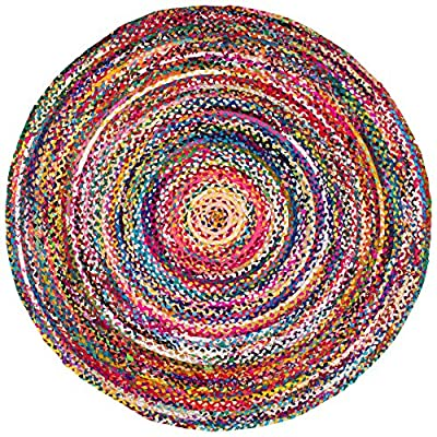 nuLOOM Tammara Hand Braided Round Rug, 6' Round, Multi - Made in India PREMIUM NATURAL FIBERS: This rug is crafted with sustainable 100% Cotton, a fiber that perfects a coastal-cool look SLEEK LOOK: Doesn't obstruct doorways and brings elegance to any space - living-room-soft-furnishings, living-room, area-rugs - 71zYmPywgpL. SS400  -