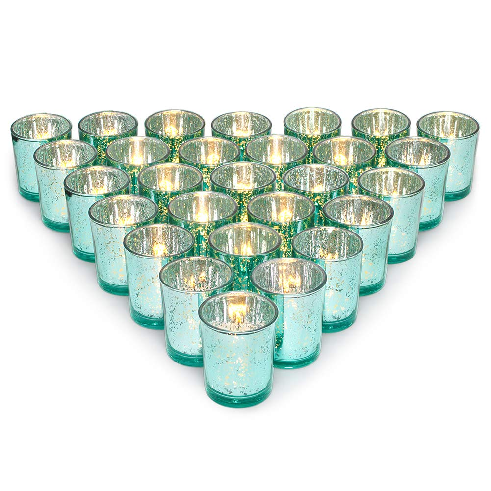 Letine Glass Votive Candle Holders Set of 36 - Speckled Mercury Aquamarine Tealight Candle Holder Bulk - Ideal for Wedding Centerpieces & Home Decor