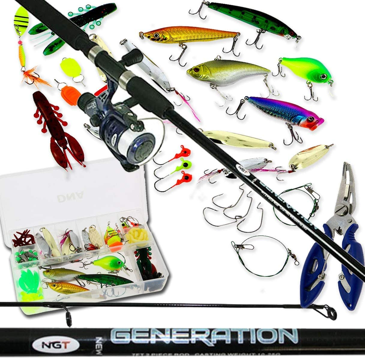 DNA Leisure Spinning Fishing 7ft 2pc Rod & Reel Full Set With 111Pc Lures Spinners Tackle Box Bass Pike Trout