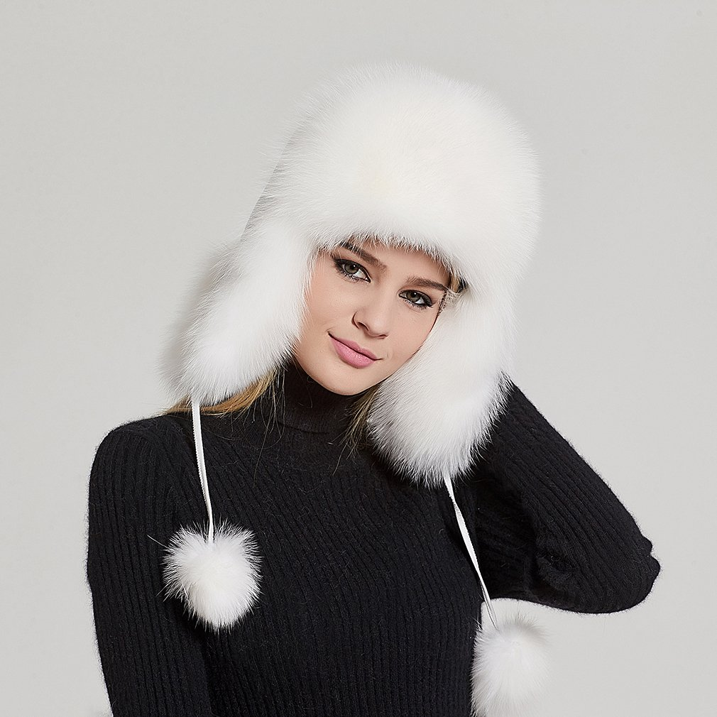 Fur Story Women's Trapper Hat with Sheep Leather Earmuffs Warm Winter Fur Hat (White) by Fur Story (Image #2)
