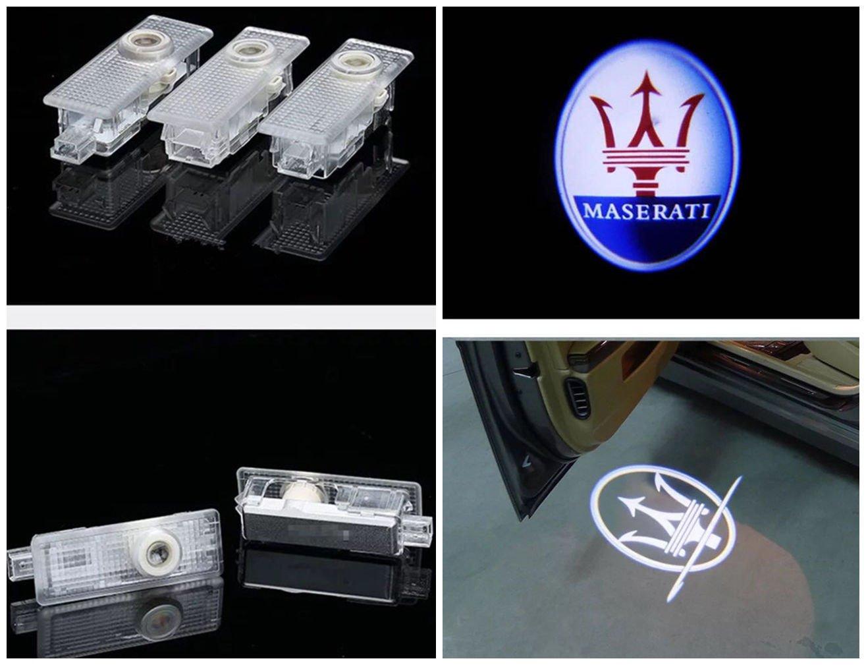 DELEIKA 2017 Maserati LOGO Car door LED logo projector Light ghost shadow light For Quattroporte Ghibli GranTurismo GranCabrio Levante Quattroporte, LOGO:2