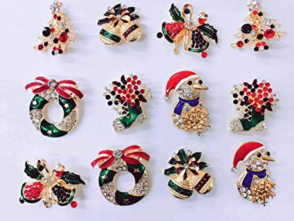 NEW Set of 12 Vintage Inspired Christmas Gold Brooch LotHoliday BroochChristmas TreeSnowman Xmas Pin LotParty Favor