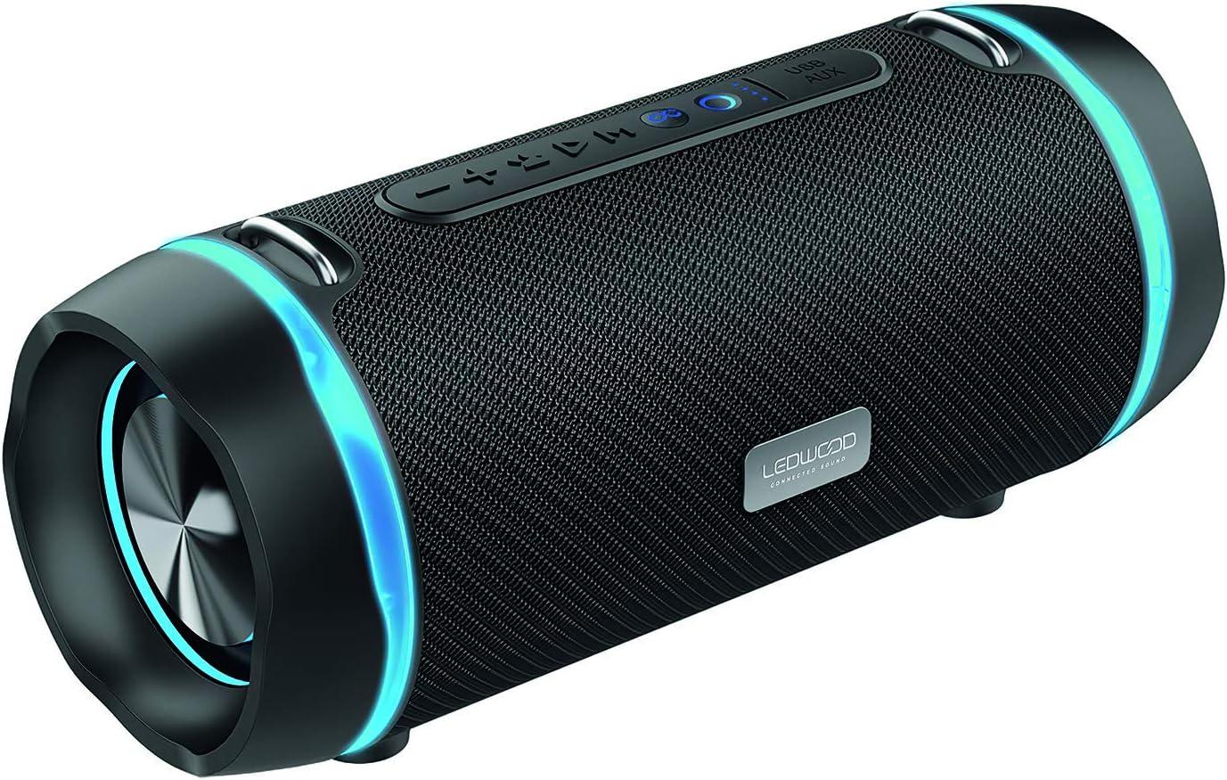 LEDWOOD XT240 TWS - Altavoz Bluetooth portátil con correa, altavoz inalámbrico potente con LED azul - AUX - Puerto USB - Radio FM - Negro