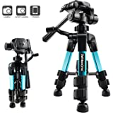 Ideashop Portable Aluminum Camera Tripod Lightweight Compact Travel Cellphone Mount Stand Adjustable Camera Stand Holder with Pan Head Panoramic Quick Release Plate Carry Case for DSLR Camera Gopro