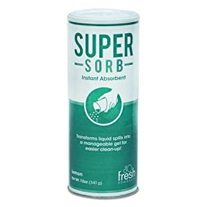 Fresh Products 614SSBX Super-Sorb Liquid Spill Absorbent, Powder, Lemon-Scent, 12 oz. Shaker Can, Box of 6