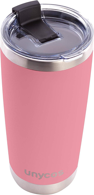 unycos - Termo de Acero Inoxidable con Tapa Antigoteo de 500 ml. Aislamiento de Vacío de Doble Pared, Botellas de Frío/Caliente (Rosa)