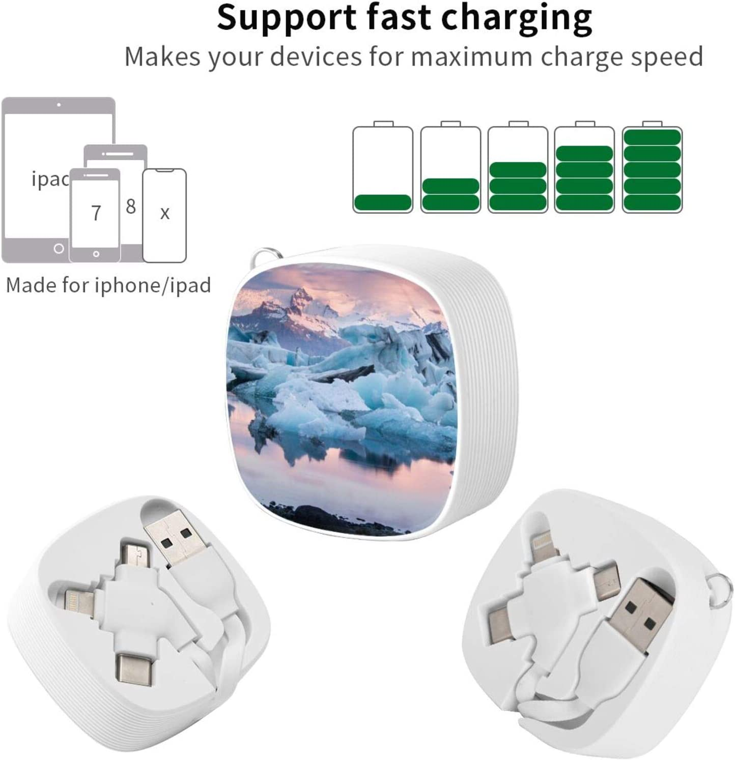Glacier World Icelandic Miraclethe Square Three-in-One USB Cable is A Universal Interface Charging Cable Suitable for Various Mobile Phones and Tablets