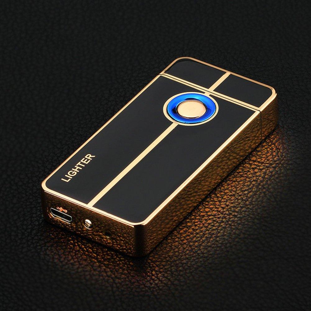 GuDoQi Fingerabdruck-Induktion Dual-Bogen Feuerzeug Wiederaufladbare USB Winddichtes Plazmatic Elektro-Feuerzeug mit LED-Schalter-Taste QBY