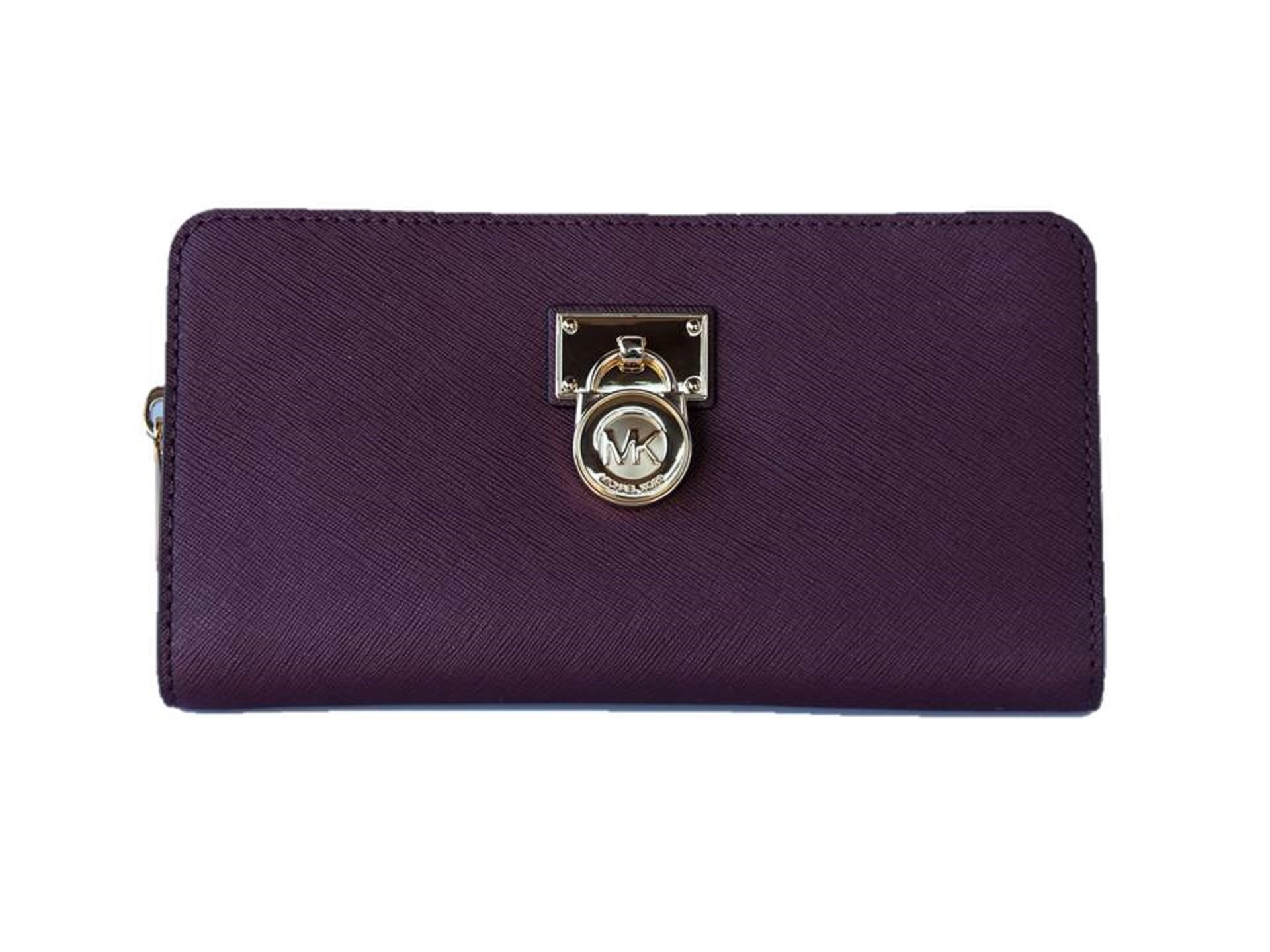 Michael Kors Hamilton Traveler Saffiano Leather Large Zip Around Wallet - Plum