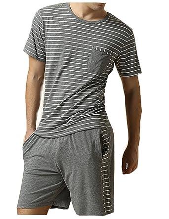 7917fe25c73 Gina 1982 Men s Summer Sleepwear Striped Short Sleeve Pajamas Shorts and Top  Set Dark Grey